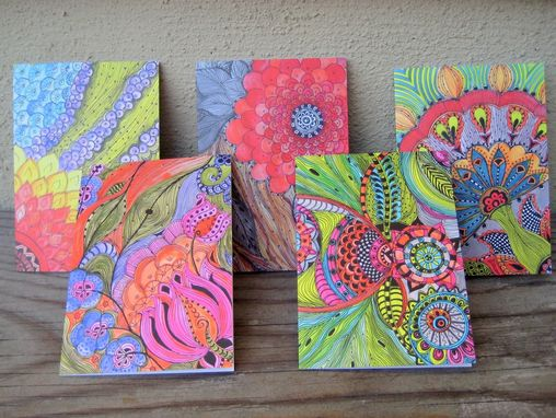 Custom Made Notecards Bright Colors-Set Of 5 Cards With Artwork Envelopes Included Blank Inside