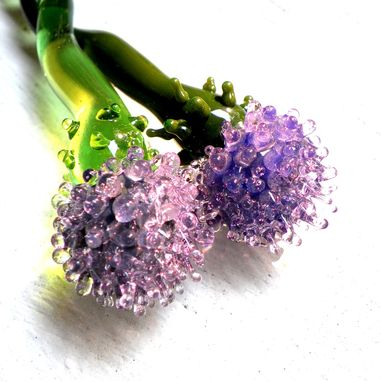 Custom Made Glass Thistle Purple. Glass Long Stem Flowers, Outlander Scottish Irish Lampwork Flower