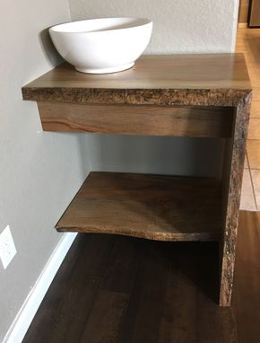 Custom Made Vanity,Bathroom Vanity,Wood Vanity,Wood Shelf,Woodworking,Live Edge,Natural Wood
