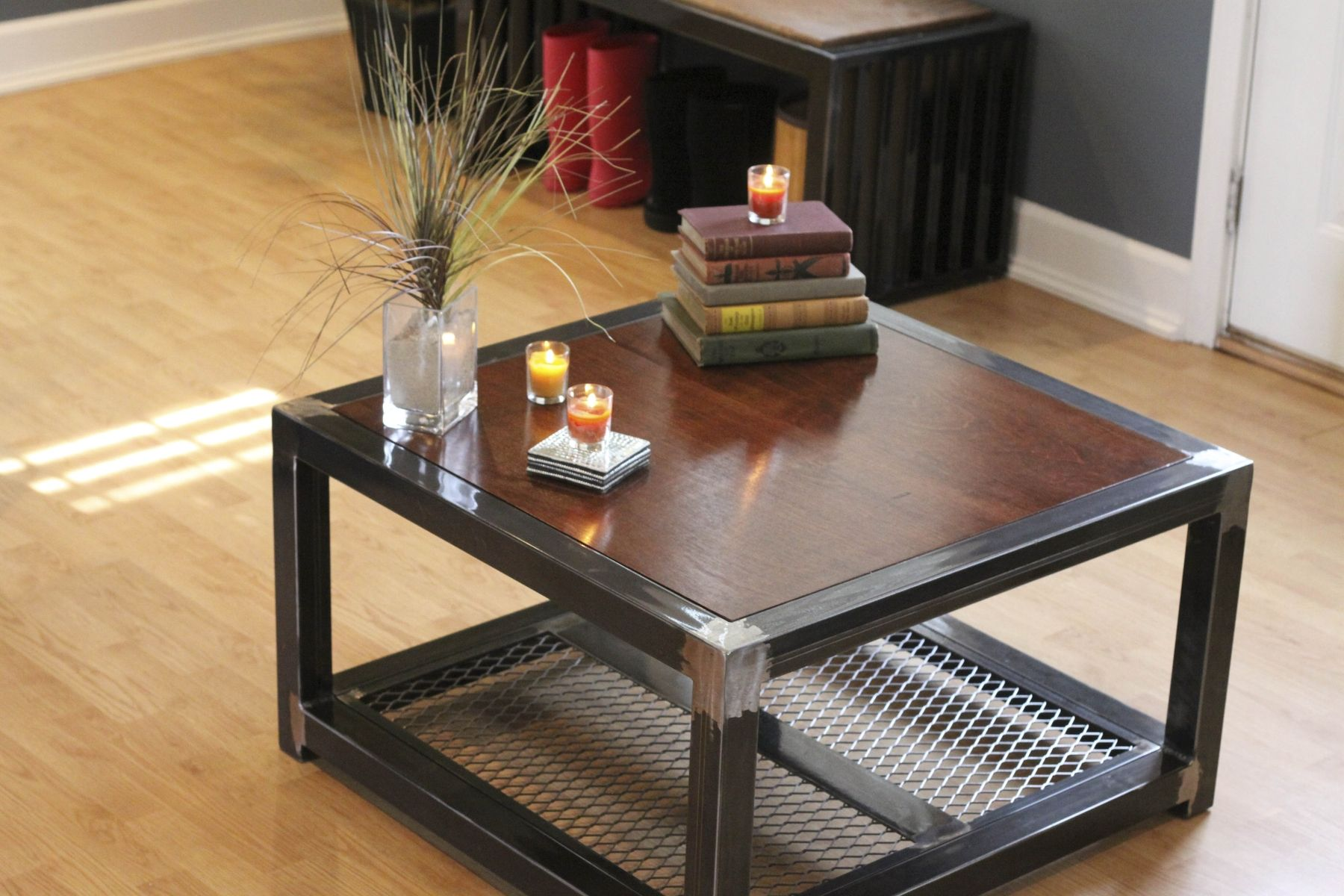 hand made steel and wood coffee table by industrial interiors. Black Bedroom Furniture Sets. Home Design Ideas