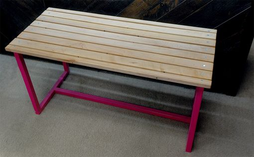 Custom Made Hardwood Bench - Reclaimed Wood With A Pink Iron Frame
