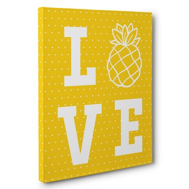 Custom Made Love Pineapples And Polka Dots Canvas Wall Art