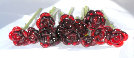 "Custom Made Set Of 12 Long-Stemmed Glass Roses ""Untamed Roses''"