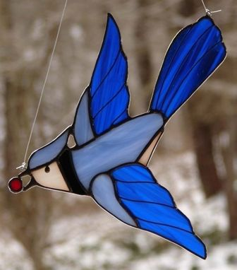 Custom Made Flying Blue Jay, Ready To Ship
