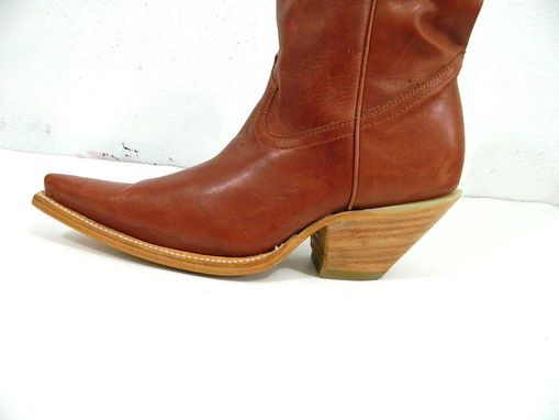 Custom Made Sadle Tan S Toe Cwboy Boots 3 Inch Heels And Plain Shafts And Vamps Made To Order.