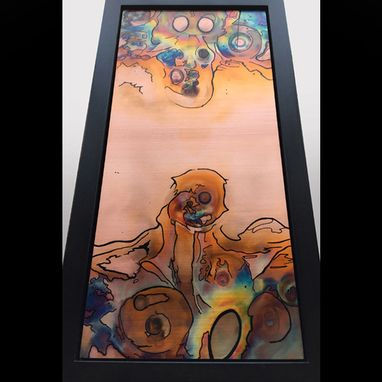 Custom Made Skull Mask - Flame Painted And Inked Copper Wall Art. Framed