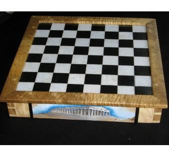 Custom Made Sky Blue And Black Marble Chess Board