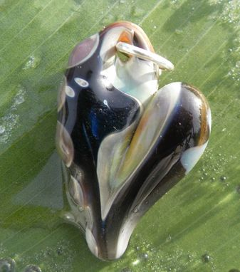Custom Made Hand-Blown Glass Heart Pendant In Black And Metallic Hues