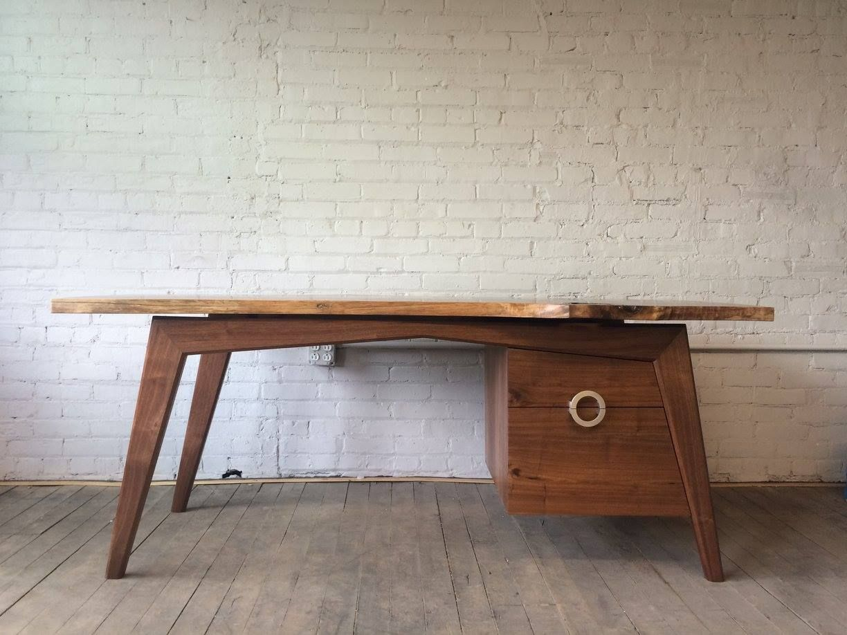 Image of: Hand Made Mid Century Modern Inspired Walnut Slab Desk By Powell Woodworks Custommade Com
