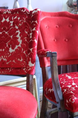 Custom Made Upholstered Vintage  Dining Chairs, Custom Cushions, Original Art