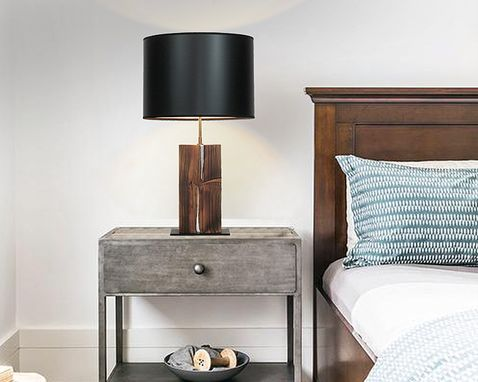 Custom Made Neo Rustic Reclaimed Beam Table Lamp With Touch Control Base And Metal Inlay