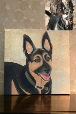 Custom Made Custom Pet Portrait, Gold Leaf, Personalized Pet Memorial Dog Cat Painting,