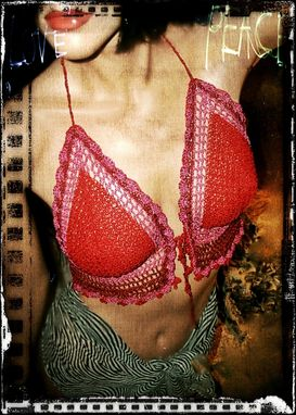 Custom Made Festival Boho Red Hot Pink & Oxblood Crochet Halter Top