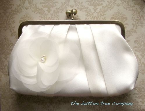 Custom Made Pleated Satin Wedding Clutch Purse With Ivory Flower Accent