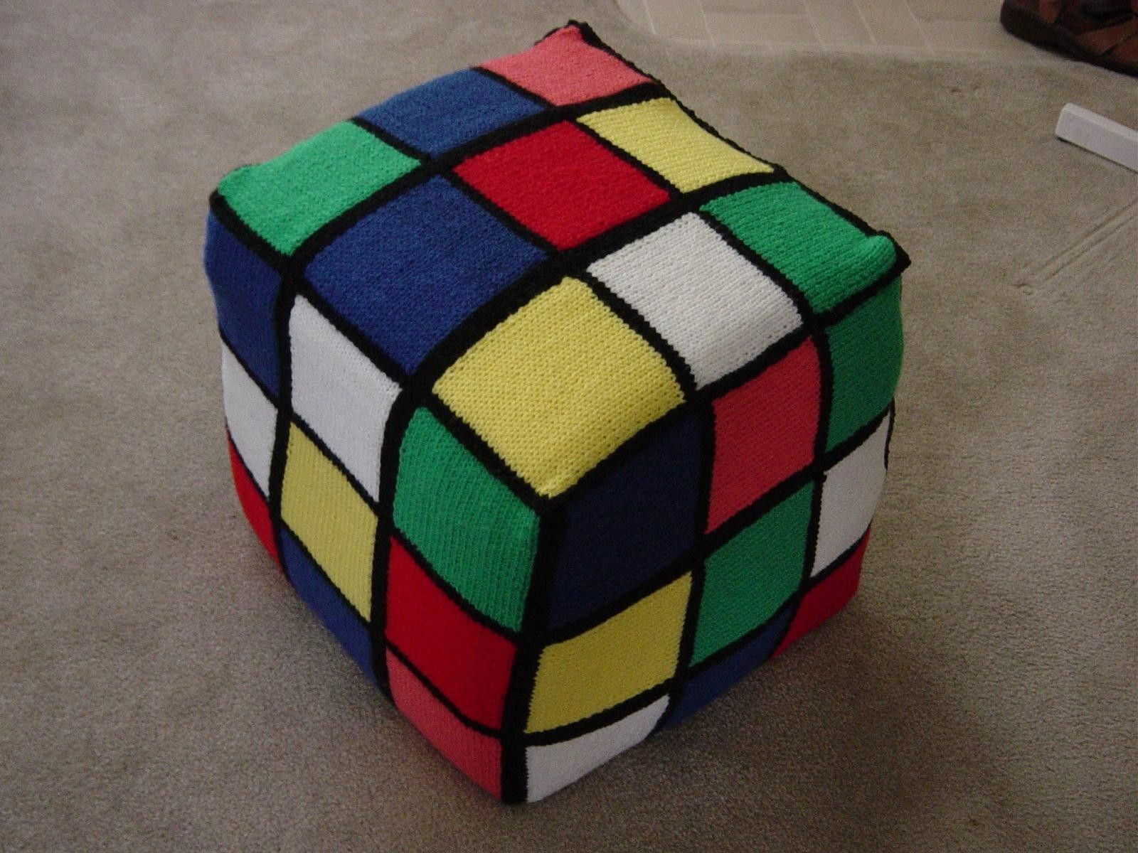 Custom Made Knitted Rubik Cube Floor Cushion