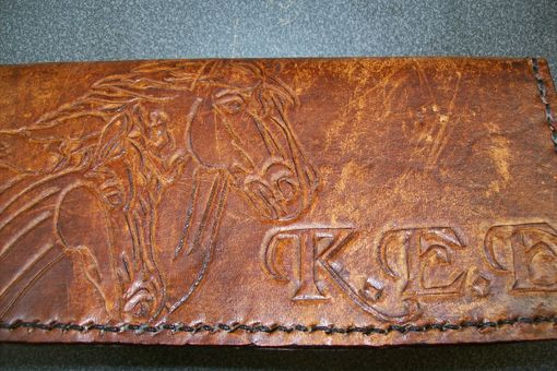 Custom Made Custom Leather Checkbook Cover With Horse Design And Personalization