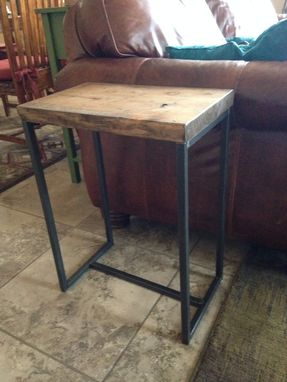 Custom Made Side Table.  Rustic Wood Table Top With Metal Frame