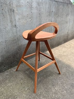 Custom Made Sculpted Swiveling Tractor Seat Stool With Low Back In Walnut