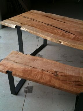 Custom Made Inset I-Beam Dinine Table And Matching Bench