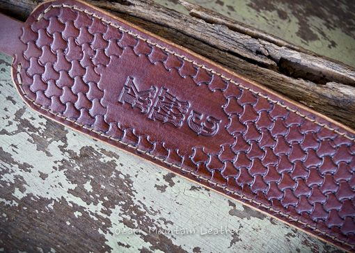 Custom Made Custom Leather Rifle Sling Brown Hand Tooled Cobra Style Padded.