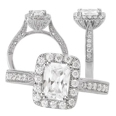 Custom Made 18k Diamond Engagement Ring Semi-Mount With Diamond Halo, Holds A 7x5mm Emerald Cut