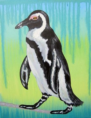 Custom Made Penquin Nursery Art Zoo Animal. Baby Room Decor (Painting Not A Print).