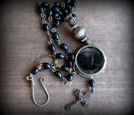 Custom Made Trilobite Fossil And Crucifix Pendant With Black Rosary Beads Necklace