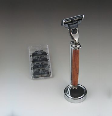 Custom Made Mach3 Shaving Razor With Stand And Fourgillette Blades, Exotic Wood Handle