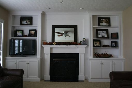 Custom Made Built In Bookcase/Display Cabinets With Fireplace Mantle