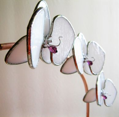 Custom Made White Orchid In Stained Glass With Swarovski Crystals