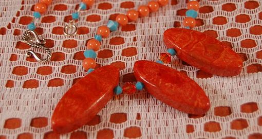 Custom Made Coral And Turquoise Necklace
