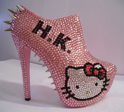 Custom Made Hello Kitty Spiked/Rhinestone Ankle Booties (Bad Kitty)