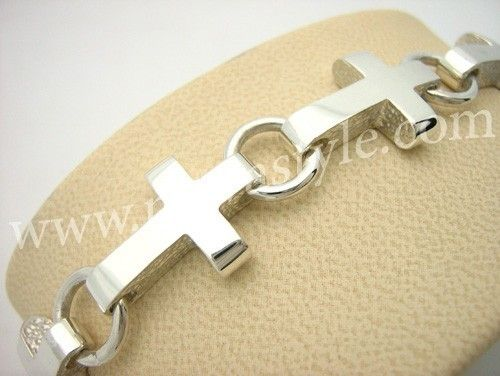 Custom Made Sterling Silver Cross Bracelet
