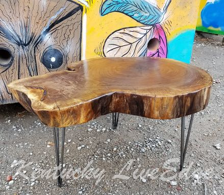 Custom Made Natural Wood Table- Live Edges- Log Table- Log Furniture- Round Table- Rustic- Coffee Table