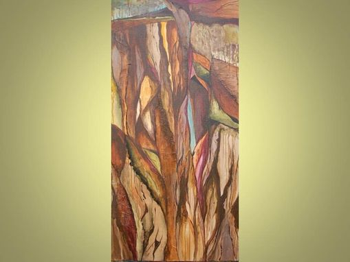 "Custom Made 25% Off Sale-Original Abstract Landscape Painting 18""X36"" Brown Purple Green Ravines Painting"