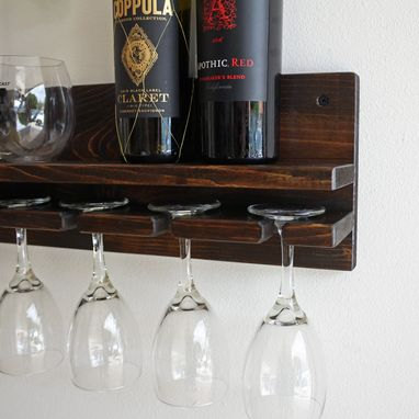Custom Made Rustic Wine Rack Shelf & Hanging Stemware Glass Holder Organizer Bar Shelf