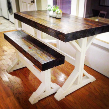Custom Made Custom Farm Dining Or Breakfast Table (With Optional Bench)
