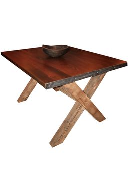 Custom Made Salvaged Yellow Pine X-Style Base Dining Table With Hammered Steel