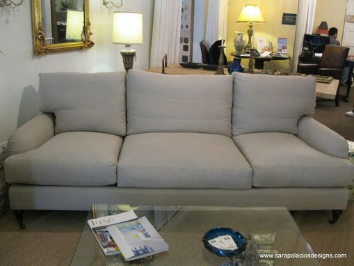 Custom Made English Roll Arms Linen Upholstered Sofa
