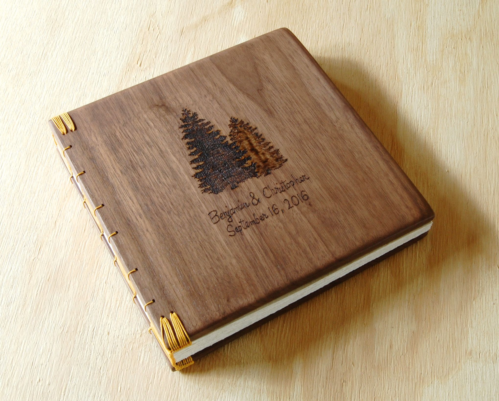 Diy Wooden Book Cover : Buy a custom engraved wood wedding or vacation home guest