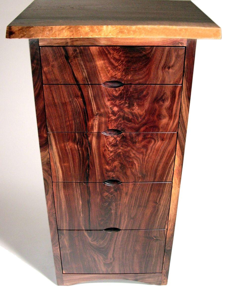 Hand Made Modern Dresser Walnut Live Edge By Aaron Smith