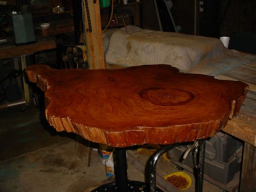Custom Made Live Edged Cypress Slab Top Table Antique Cast Iron Base