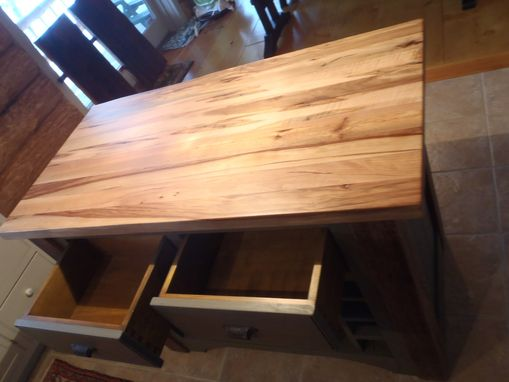Custom Made Kitchen Island, Reclaimed With Butcher Block Top