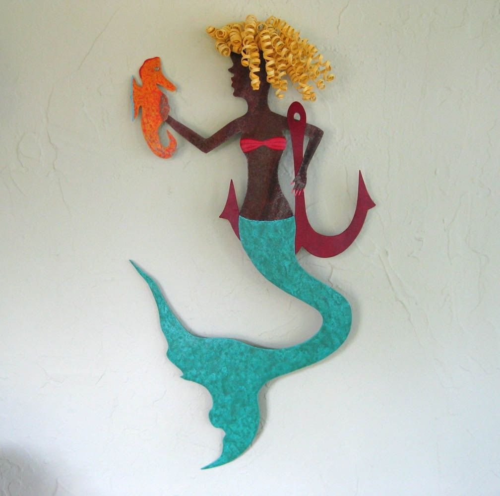 Hand Crafted Handmade Upcycled Metal Mermaid With Seahorse