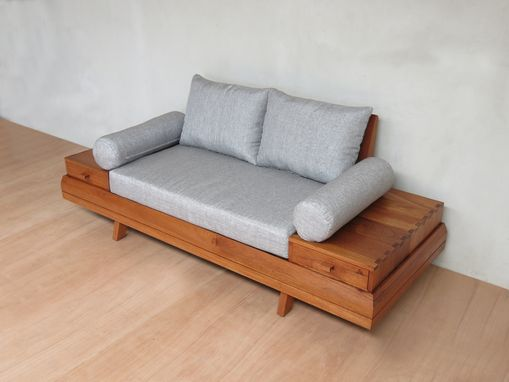 Custom Made Floating Loveseat With Built In Side Tables By Masaya And Company