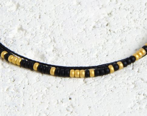 Custom Made Custom Morse Code Bracelet - Black & Gold