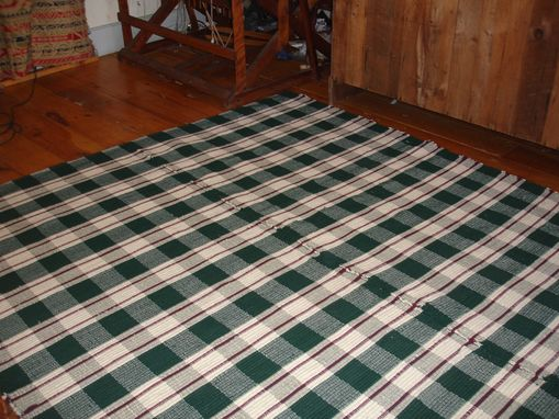 Custom Made Green Marsala Red White Plaid Woven Hand Dyed Wool Rug 7.5 Ft X 8.5 Ft