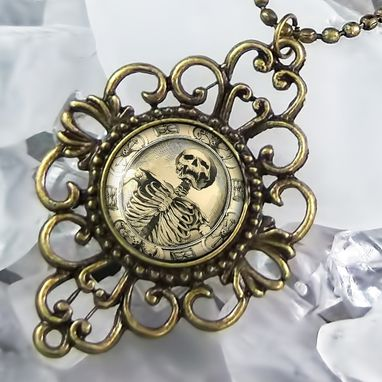 Custom Made Memento Mori Victorian Gothic Skeleton Antique Bronze Necklace 131-Bfn