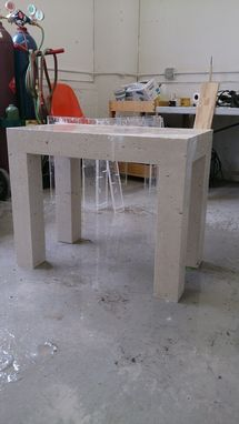 Custom Made Cast Concrete Side Table In The Parsons Style