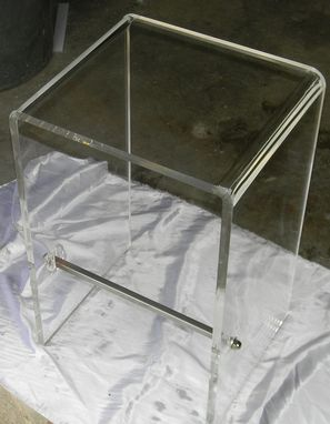 "Custom Made Acrylic Stool - Folded ""Waterfall"" Edge, Foot Rest, 1"" Thick Acrylic"